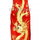 A-one Gold Embroidery Dragon Silk Cheongsam