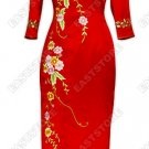 Well-off Floral Embroidery 3/4-Length Silk Cheongsam