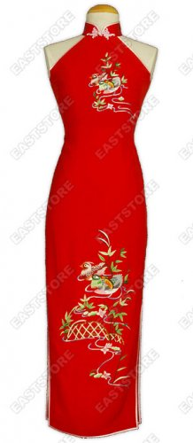 Romantic Mandarin Duck Embroidered Silk Cheongsam