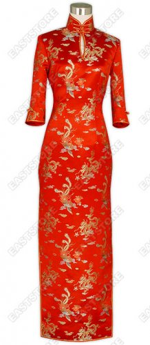 Traditional Dragon and Phoenix Silk Brocade Cheongsam