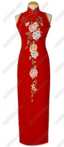 Traditional Peony Embroidered Silk Cheongsam