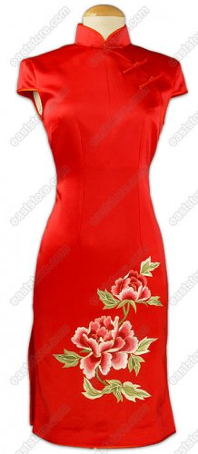Jubilant Peony Embroidered Knee-Length Silk Cheongsam
