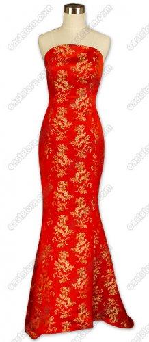 Jubilant Brocade Fishtail Wedding Dress