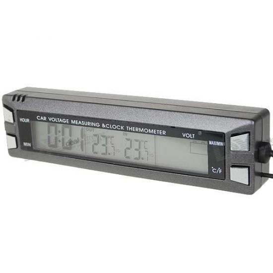 """3.8"""" LCD Digital Clock with In/Outside Thermometer + Voltage Measuring Bar for Vehicles"""