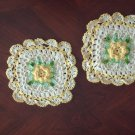 2 Crocheted Hot Pads or Pair Decorative Potholders