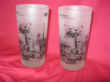 Owens Illinois Set 2 Glasses Annual Service Award Collectible Drinking Glass