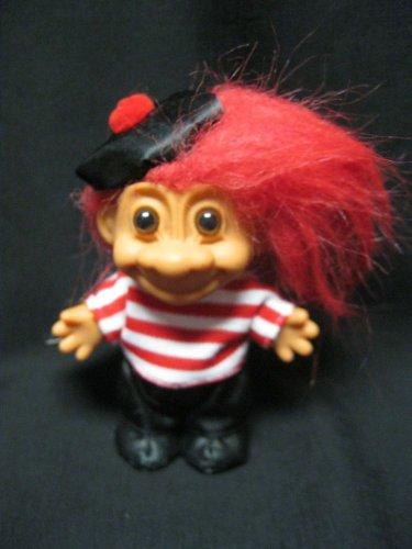 """5"""" Russ Troll Doll Frenchman W Beret & tag Trolls Around The World France"""