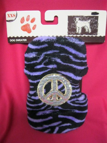 Dog Sweater New  XXS New Purple Zebra Fleece Material Peace sign