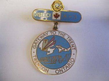 Lions Club Pin Gateway to the Trent Trenton Ontario A-3 Vintage Rare