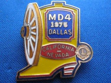 LIONS CLUB PIN MD 4 1975 DALLAS CALIFORNIA NEVADA BOOT