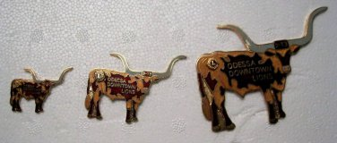 Lions Club Pin Vintage Rare set of 3 Lions Bulls Odessa Downtown  2-T3