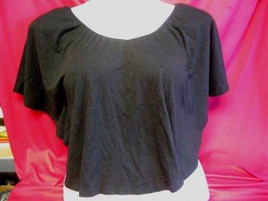 Black Shirt Top Sz M by American Star Open crochet Back Wing Style Sleeve