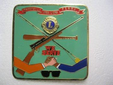 Lions Club Pin Vintage Rare Warrensville Area Pa  Gun Fishpole Baseball Bat