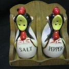 SALT PEPPER SHAKERS ROOSTERS JAPAN # 1806 W WOOD HOLDER RARE HTF VINTAGE
