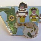 Lions Club Pin  Florida Bahamas 35-D map Vintage Rare