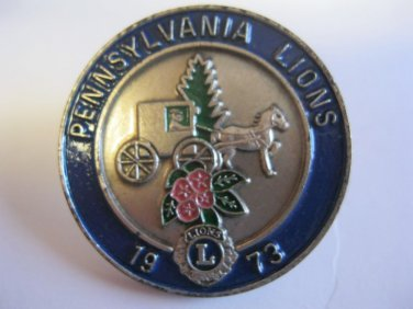 Lions Club Pin Vintage Rare Carriage Horse n Buggy  1973