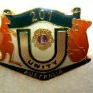 Lions Club Pin Vintage Rare Unity 201 Australia on back  A.J. Parkes Parxites 77