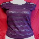 Aeropostale sz S Plum Colored Shirt With lace Shoulders Top Short Sleeved