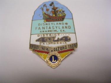 Lions Club Pin Vintage Rare Disneyland Fantasyland 1981 Phoenix Arizona
