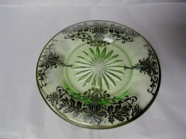 Vtg.STERLING SILVER Overlay on Green Depression Glass Dish Plate Marked Sterling