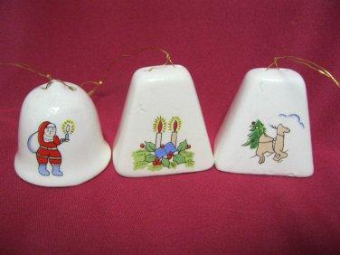 Vintage Lot 3 Bells not sure if Porcelain Ceramic Hanging Ornaments
