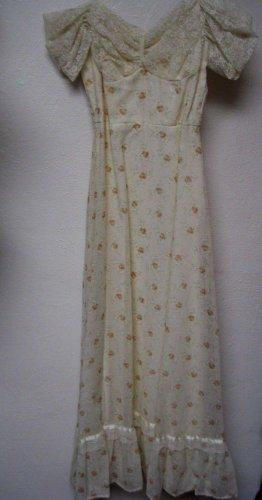 Vintage Dress Peach Floral  Prairie Festival  Dress Sz 7/8 Costume 70's