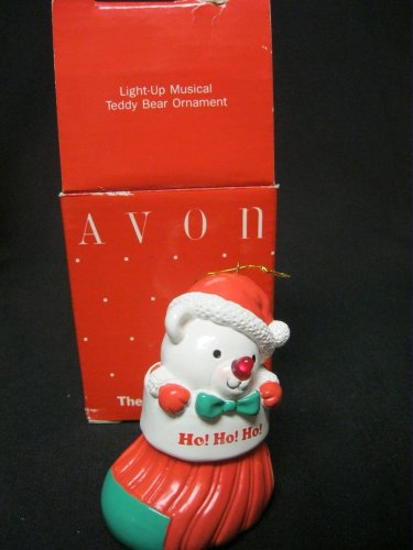 AVON LIGHT UP MUSICAL TEDDY BEAR ORNAMENT IN BOX AND WORKING