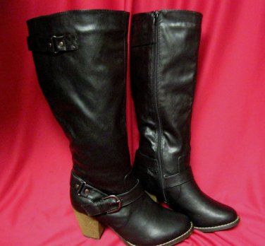 Womens Black Boots Sz 9 Style Lisa Zipper Side