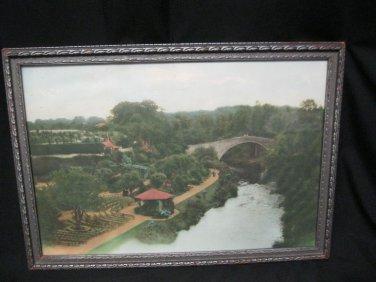 Hand Painted Tinted Photo  1932 Old Doon Bridge Robert Burns Tam O Shanter