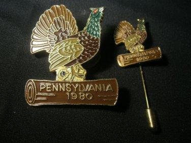 LIONS CLUB PIN & Stick PIN  PENNSYLVANIA 1980 Chicken