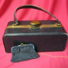 Vintage Purse Evans Elegance Leather & Brass Box  Handbag w Change Purse 1953