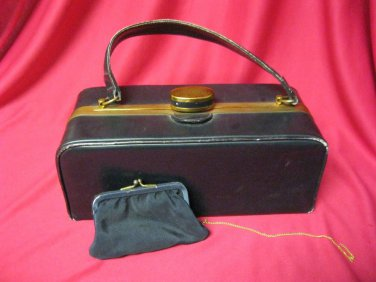 Vintage Purse Evans Elegance Leather & Brass Box  Handbag w Change Purse 1953