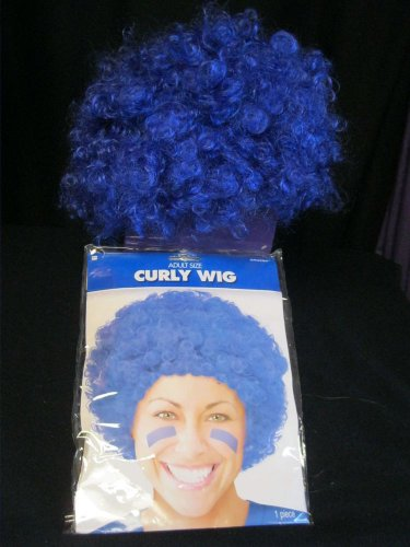 Adult Curly Wig Blue Halloween School Spirit Amscan