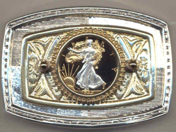 Walking Liberty Half Dollar Cut Coin Belt Buckle