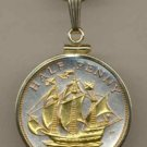 Sailing Ship Coin Necklace Pendant