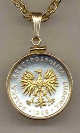 Polish 5 Zlotych Coin Necklace  Poland