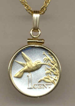 Hummingbird Coin Necklace Pendant Bird