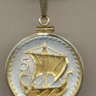 Viking Sailing Ship Coin Necklace Pendant