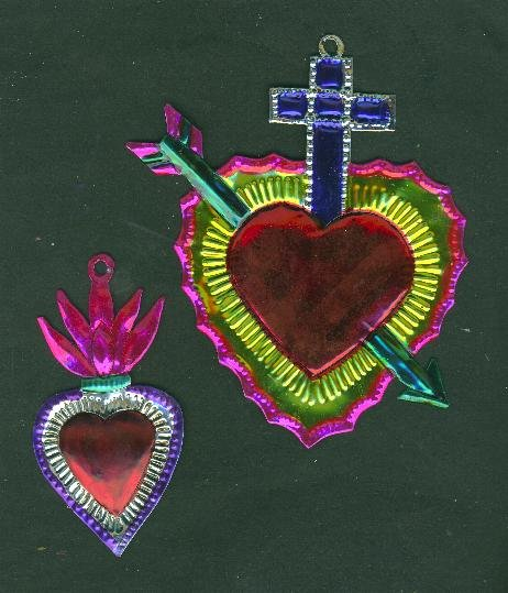 Two Valentine tin Mexican hearts ex voto ornaments