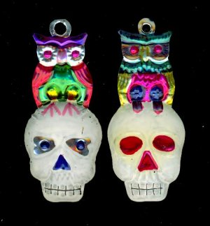 2 Tin Mexican Skull with owl Day of the Dead