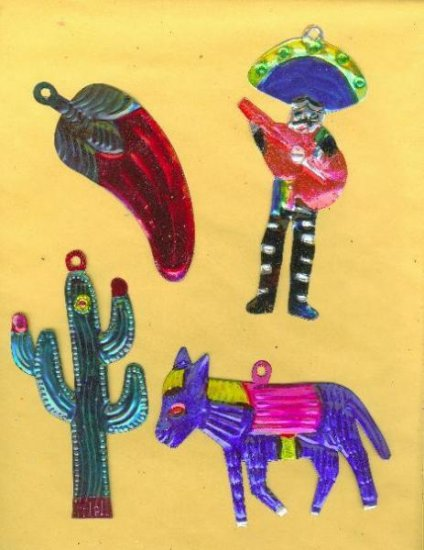 4 MEXICAN HANDCRAFTED CHRISTMAS TIN ORNAMENTS