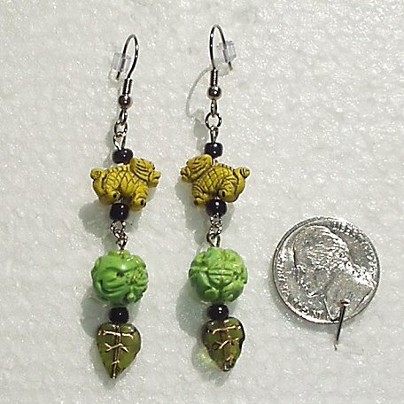 Fu Dogs Porcelain Glass Handcrafted Artisan OOAK Dangle Earrings