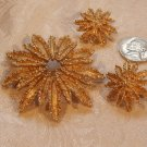 Avon Sunburst Brooch Earrings Deme Parure 1970s Vintage