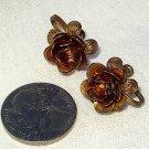 Art Nouveau Sterling Vermeil Cannetille Rose Earrings