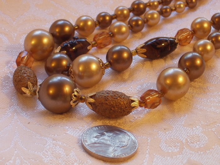 Vintage Cream & Brown Glass Pearlized Bead Necklace Signed Japan 1950s