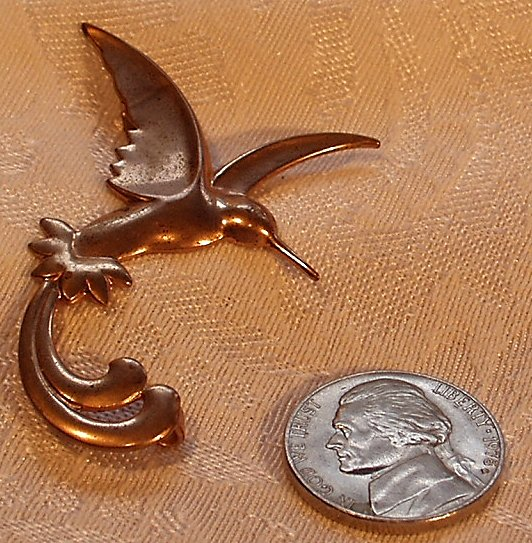 Vintage Copper Scissor Tailed Humming Bird Pressed Metal Brooch C-clasp