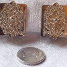Vintage Repousse Goldtone Medalion Clipback Earrings.