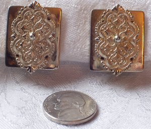 Vintage Repousse Goldtone Medalion Clipback Earrings.