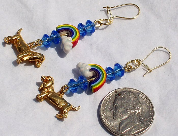 OOAK Dachshund Dog Puppy Rainbow Handmade Dangle Earrings Catitudes