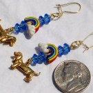 OOAK Dachshund Dog Puppy Rainbow Handmade Dangle Earrings Catitudes